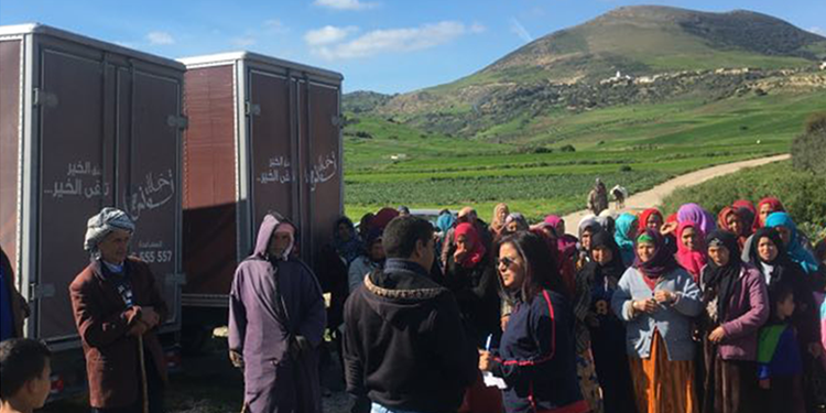 قافلة الخير: مساعدات لأكثر من 100 عائلة بمنطقة بني ابراهيم